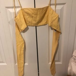 Tiger Mist Tops - yellow bandeau tie back top